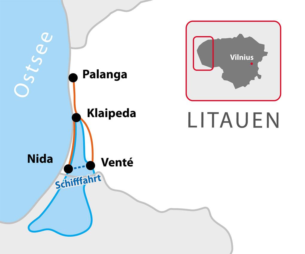 Kurische Nehrung Karte.Litauen Kurische Nehrung Goldene Küste Memland Individuelle Radreisen